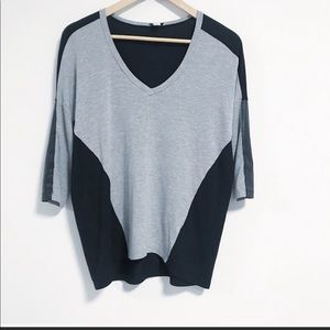 Splendid Faux Leather 3/4 length sleeve tee